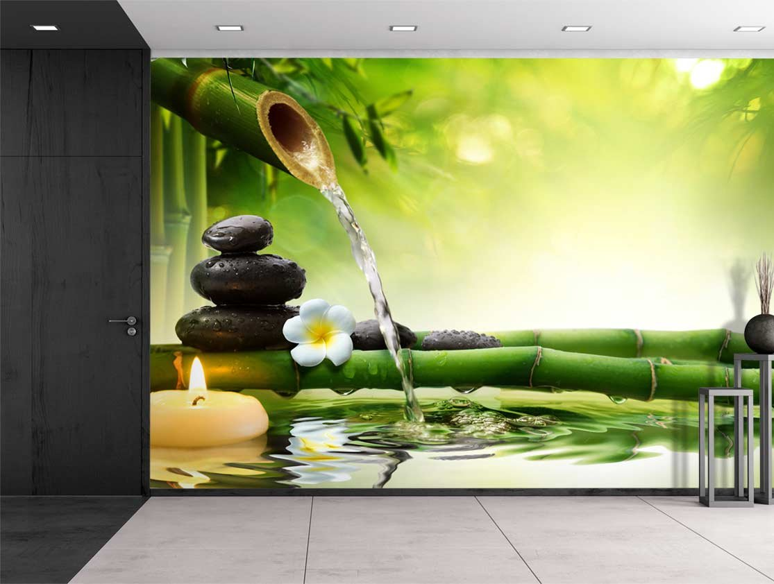 Amazon.com: Wall26 - Rocks and Flowers Over Bamboo Branches on a ...