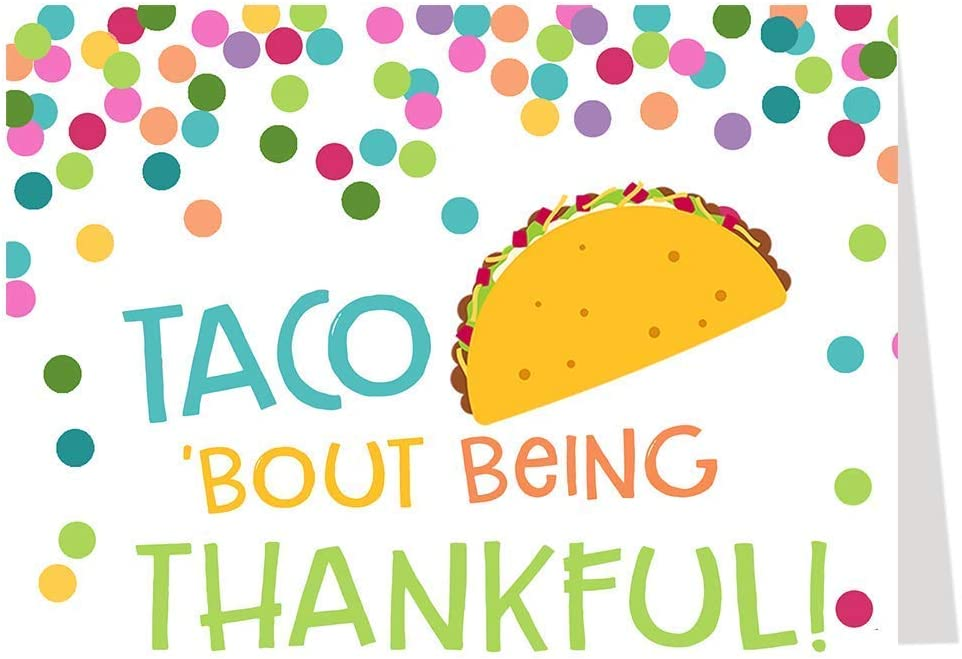 Taco Bout Being Thankful Thank You Cards Tacos Baby Shower Birthday Party Sprinkle Celebration Cookout Housewarming Graduation Food Greeting Cards Polka Dots Bright (24 count)