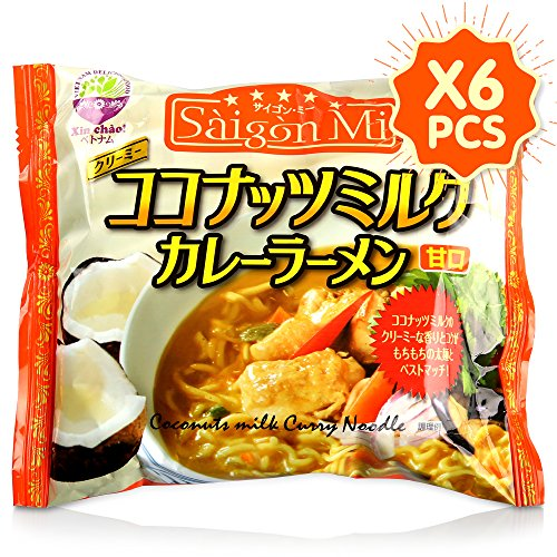 Soy Ginger Ramen (Saigon Mi Instant Curry Ramen Noodles, Vietnamese Style with Coconut Milk (Pack of 6))