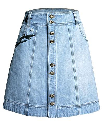 SaiDeng Mujeres Cintura Alta Bordado de una Línea de un Solo Pecho de Denim Minifalda Azul XXL