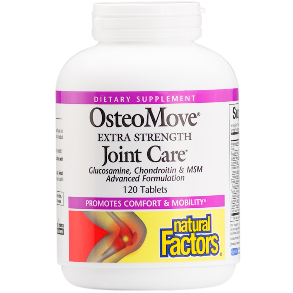 Natural Factors - OsteoMove Extra Strength Joint Care, Advanced Formula with Glucosamine, Chondroitin & MSM, Promotes Comfort & Mobility, Gluten Free, 120 Tablets