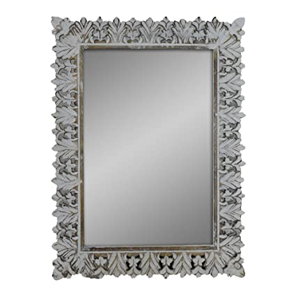 Amazon.com: Indian Heritage - Wooden Mirror Mango Wood Carved ...