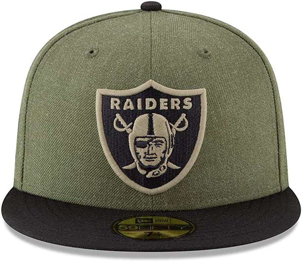 New Era Oakland Raiders On Field 19 Salute to Service STS Black Cap 59fifty 5950 Fitted Limited Edition