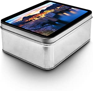 Lantern Press Boulder, Nevada - View of The Hoover Dam at Night with Lights On A-9013182 (Keepsake Tin)