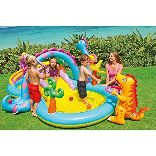 Kids Summer Fun Backyard Fun Play Center Outdoor Intex Dinoland Inflatable Play Center, 118'' X 90'' X 44'', for Ages 3+ by Let's Journey into Fashion (Image #1)