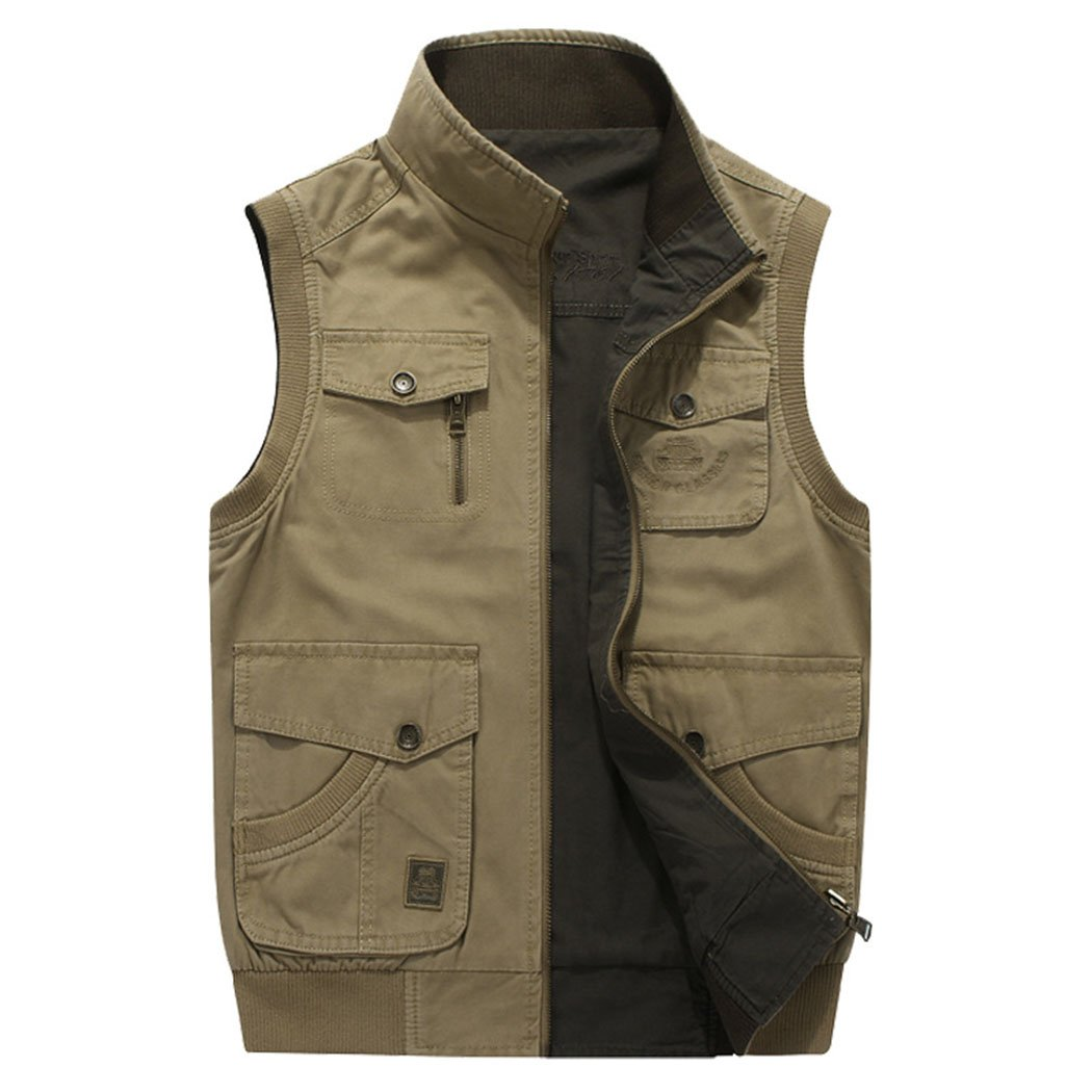 Real Spark Men's Oversize Outdoor Reversible Photographers Vest with Multi Pockets ArmyGreen XXXXL