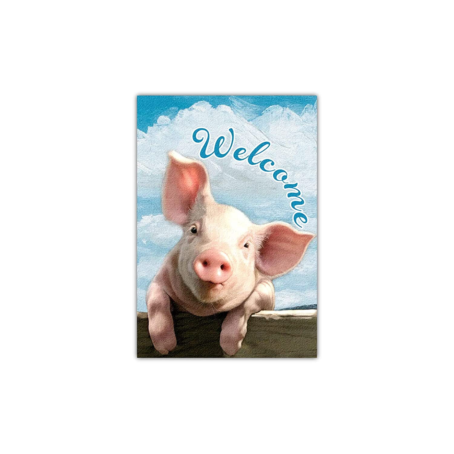 Welcome Garden Farm Flag, Cute Pink Pig, Vertical Double Side Decor, and Yard Flag for Outside Farmhouse, Garden Banner Decorations 12x18 Inch