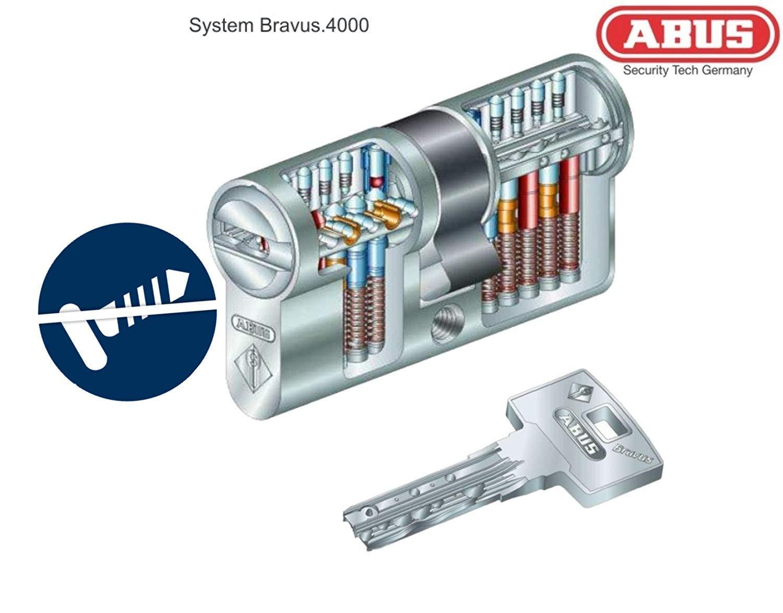 Angriffswiderstandsklasse D ABUS Bravus.4000 Doppelzylinder mit BZD u RC2//RC3 Level geeignet L/änge mit Not- u N+G a//b c=85mm Gefahrenfunktion 35//50mm mit 6 Schl/üssel nach DIN EN1303