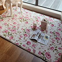 FADFAY Home Textile,Romantic American Country Style Floral Room Floor Mats,Sweet Pink Rose Print Carpets For Living Room Modern,Designer Shabby Style Flower Rug Decorative