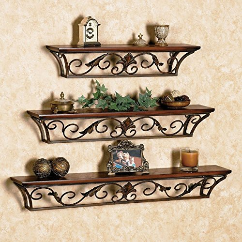 PEBBLECRAFTS Beautiful Wrought Iron Glossy Wall Shelf with 3 Shelves for Bedroom/Living Room Decoration , Brown