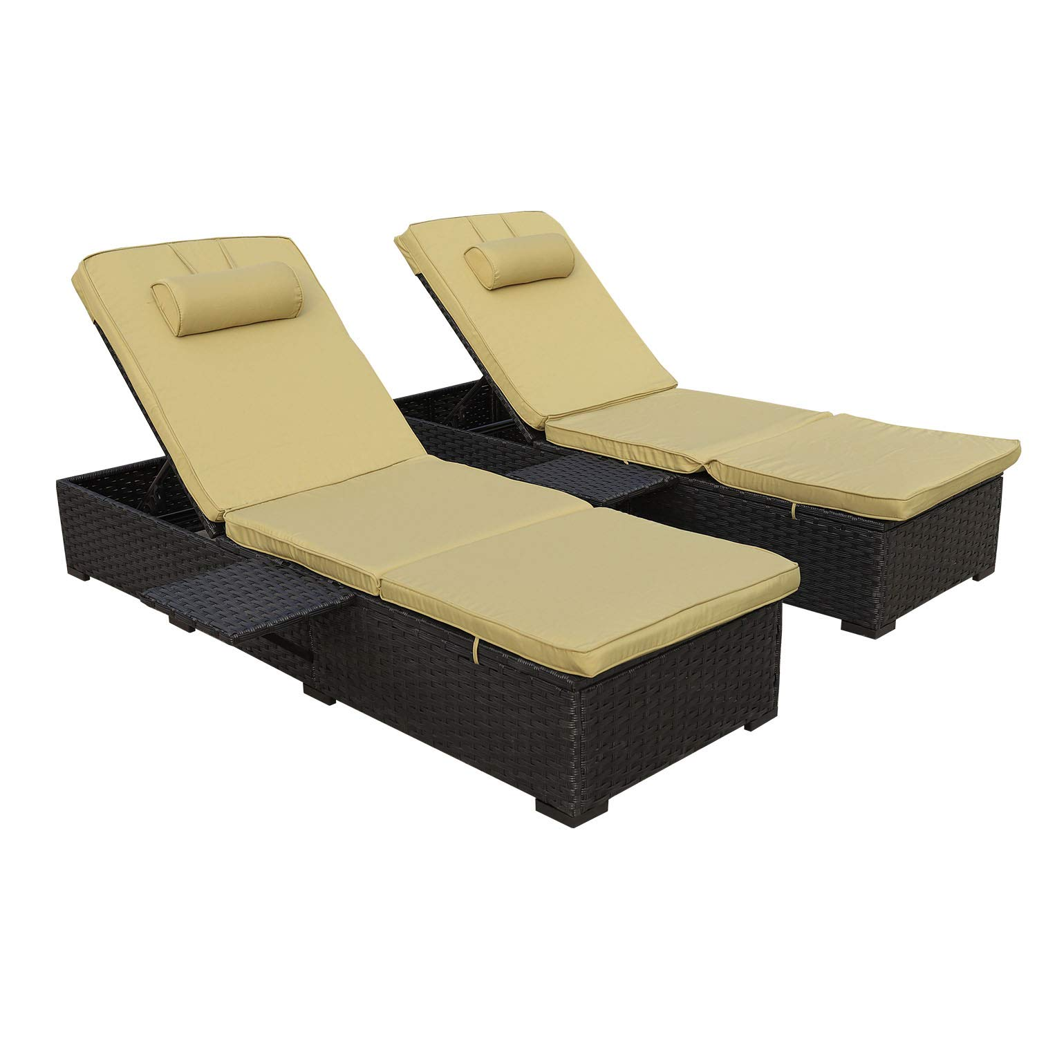 Outdoor PE Wicker Chaise Lounge - 2 Piece Patio Black Rattan Reclining Chair Furniture Set Beach Pool Adjustable Backrest Recliners with Olive Green Cushions by WAROOM