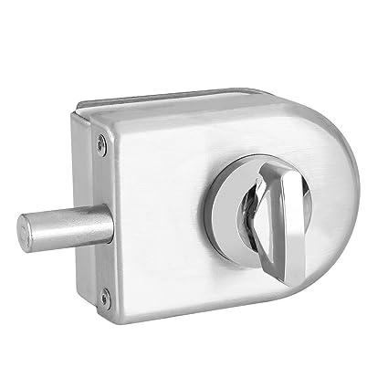 Cerradura de la puerta de vidrio de acero inoxidable de 10~12 mm Cerradura de seguridad antirrobo Doble oscilaci/ón con bisagras Sin marco Empuje Cerradura de la puerta deslizante
