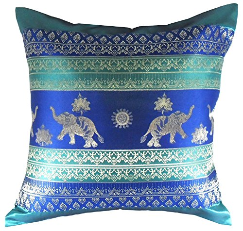 Rare Unique Art Vintage Asian Oriental Thailand Home Decorative Pillowcase Elephant Turquoise Blue Color
