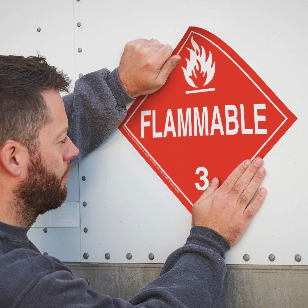 Class 3 Flammable Liquid Placard, Worded 25-pk. - 10.75'' x 10.75'' Removable Self Adhesive Economy Vinyl for Short-Term Applications - J. J. Keller - Complies with DOT Hazmat Placard Requirements by J. J. Keller & Associates, Inc.