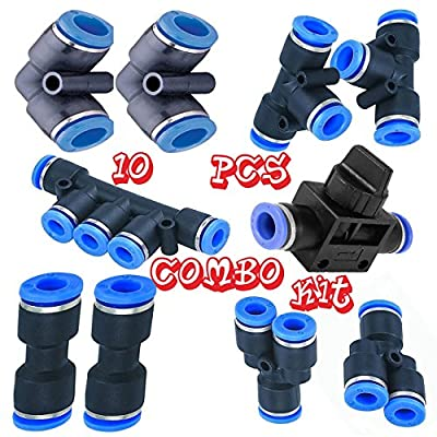Utah Pneumatic 12mm Od Push To Connect Fittings Pneumatic Fittings Kit 2 Spliters+2 Elbows+2 Tee+2 Straight+1 Manifold+ Hand Valves Ultimate Professional Set 10 Pack Plastic(12mm Combo)
