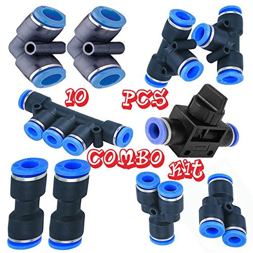 Utah Pneumatic 8mm or 5/16 od Push To Connect Fittings pneumatic fittings kit 2 Spliters+2 elbows+2 tee+2 Straight+1 Manifold+ Hand Valves Ultimate professional set 10 pack Plastic(8mm combo)