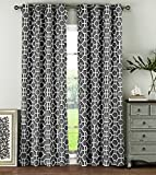 Window Elements Lenox 100% Cotton Grommet Extra Wide 104″ x 96″ Curtain Panel Pair, Charcoal