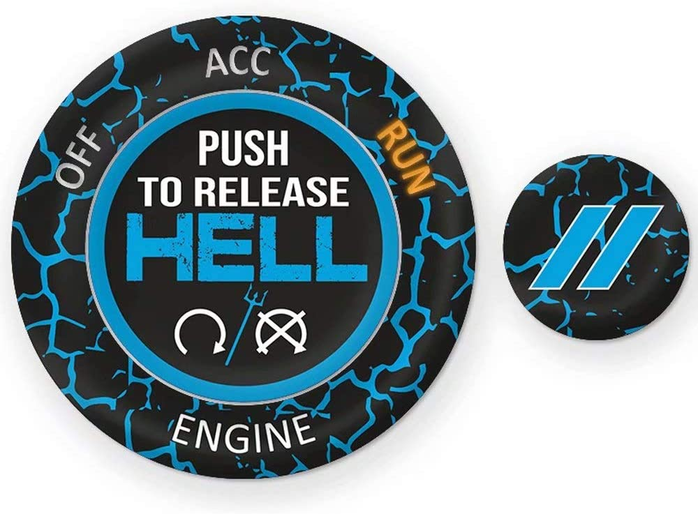 Challenger Keyless Go Starter Push Start Button Emblem Decal Go Baby Go Red Blk