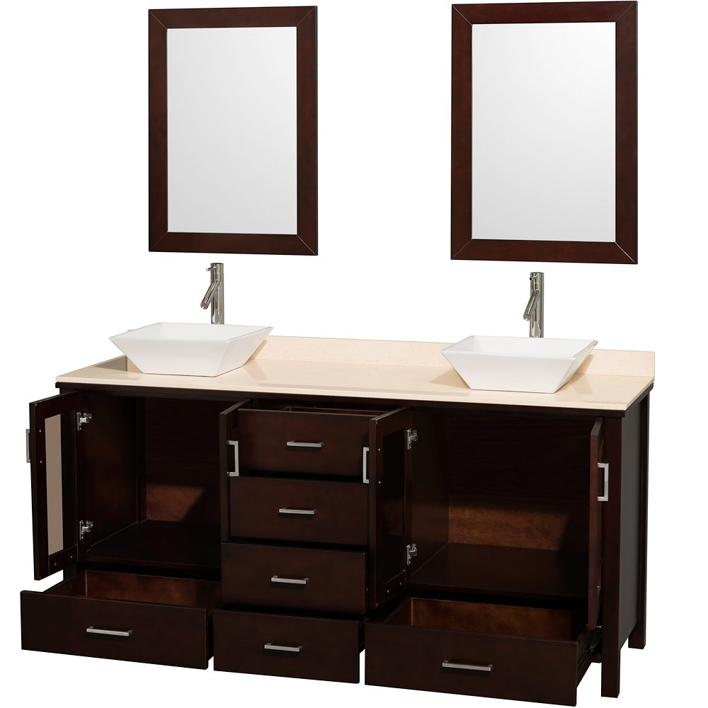 Wyndham Collection Lucy 72 inch Double Bathroom Vanity in Espresso with Ivory Marble Top with White Porcelain Sinks by Wyndham Collection (Image #2)