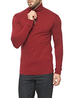 efbbcdfe913 PAUSE Men s High Neck Full Sleeve Neck Black Cotton T-Shirt  Amazon ...