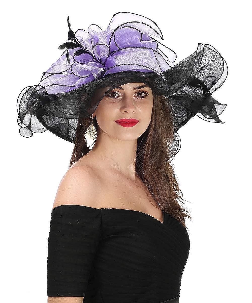 Leavesblack Purple Lucky Leaf Women Kentucky Derby Church Cap Wide Brim Summer Sun Hat for Party Wedding