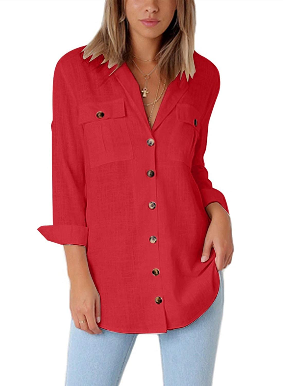 Astylish Women Casual Cuffed Sleeve Button Down Shirts Blouse Loose Tops Two Front Pockets AH251084-P