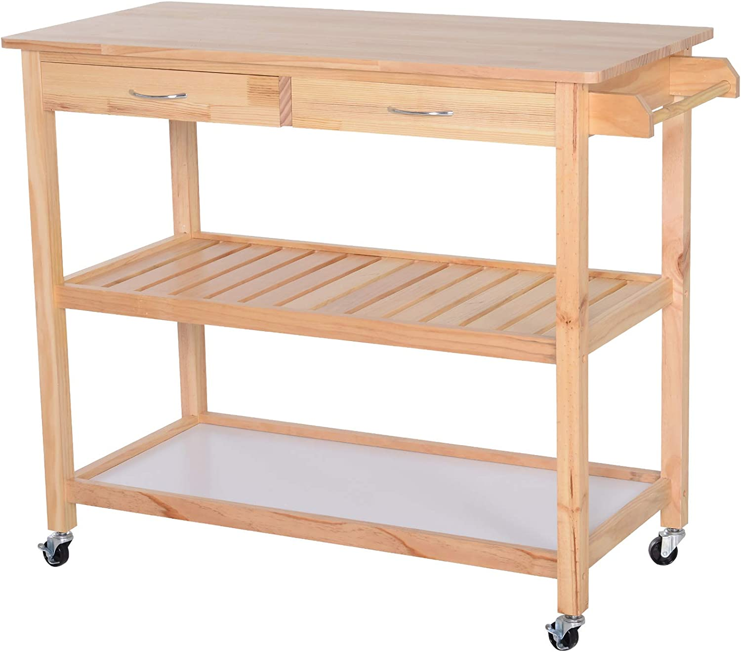 Amazon Com Homcom 42 Kitchen Trolley Cart Rolling Island Utility Serving Cart With 2 Drawers And 3 Tier Shelf Pine Wood Kitchen Islands Carts