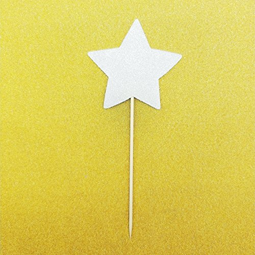 Large Double Sided Silver Glitter Star Cupcake Toppers Cake Toppers,Size 3 Wide by 7 Tall,per Pack of 18