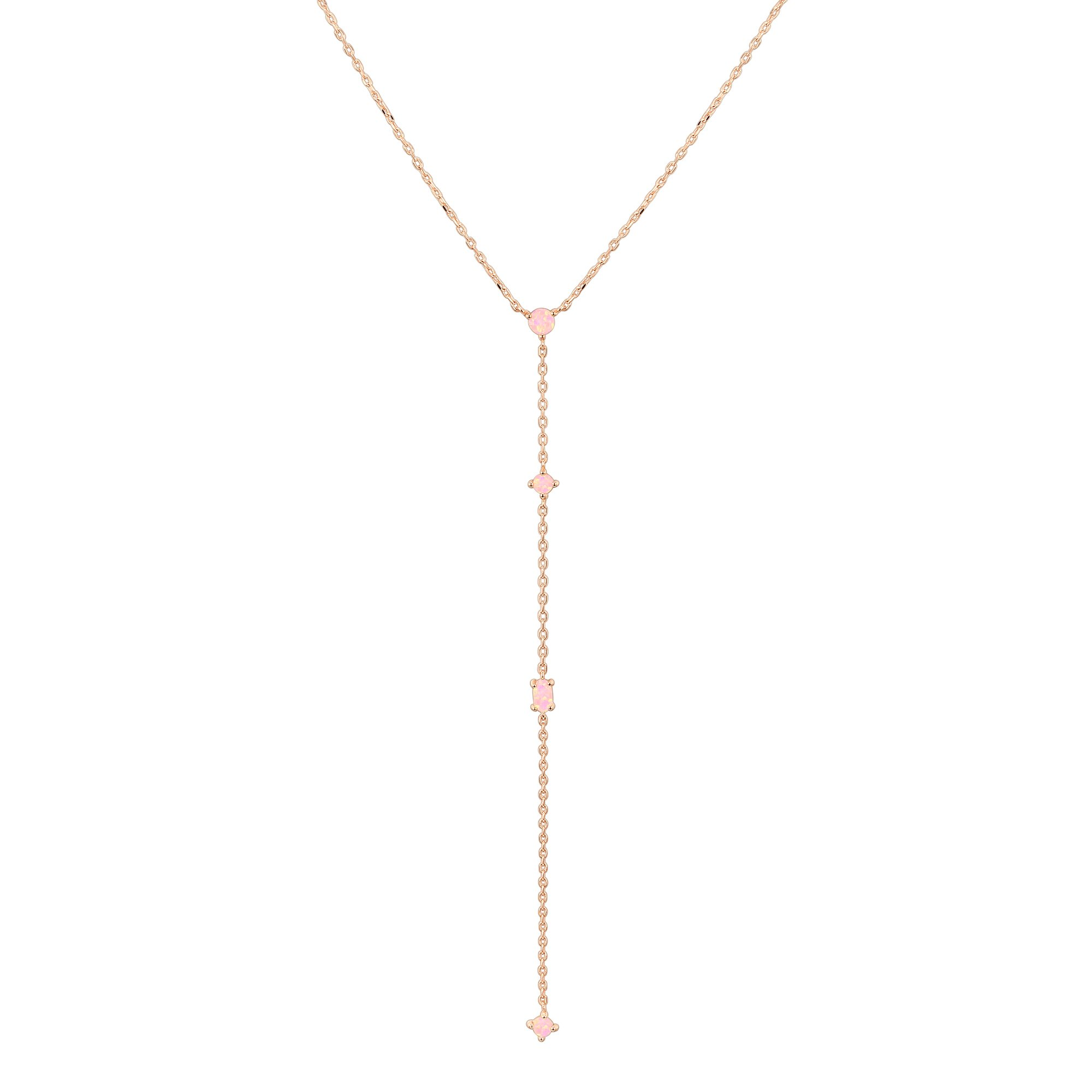 PAVOI 14K Rose Gold Plated Lariat Necklace Pendant with Created Pink Opal Necklace for Women
