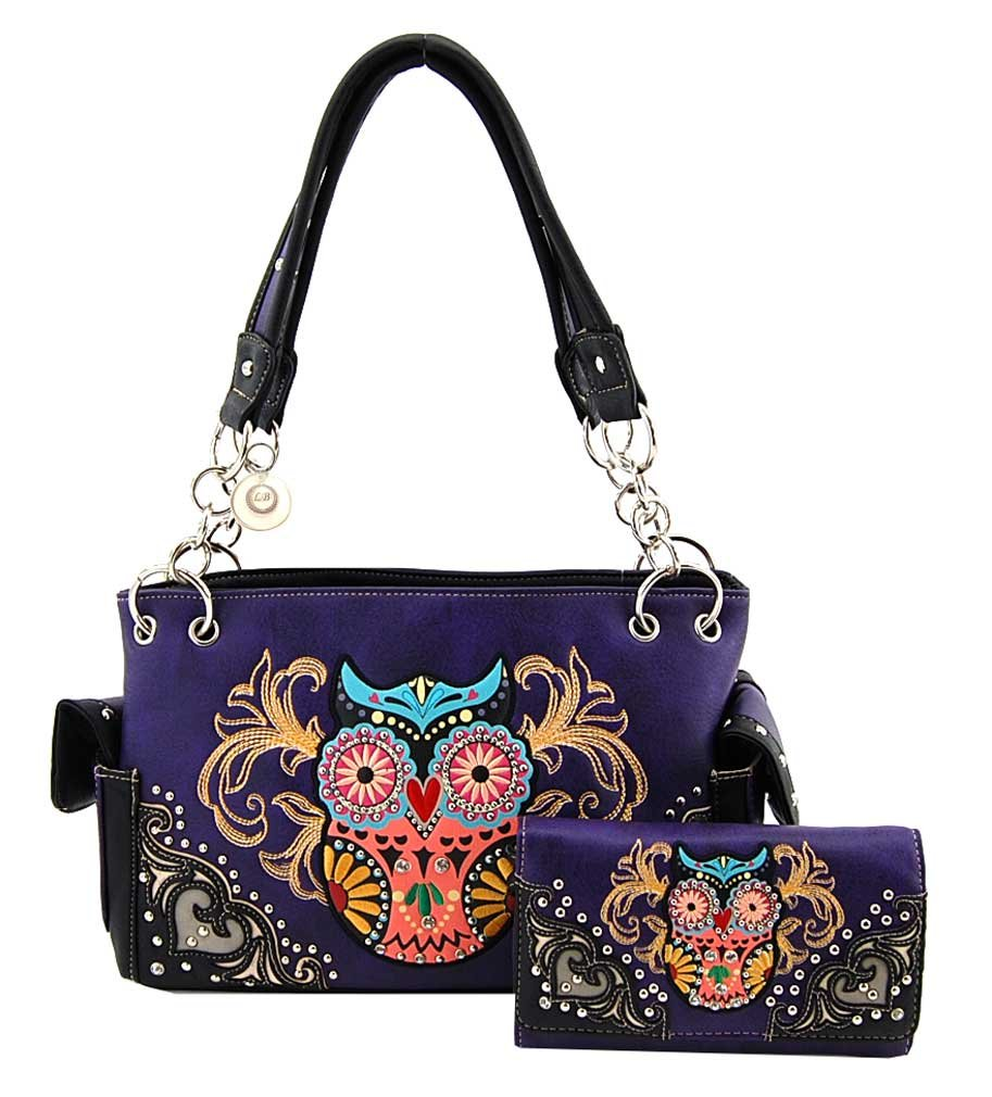 Western Style Owl Purse and Wallet Set, Embroidered and Studs (Purple)
