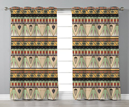 Thermal Insulated Blackout Grommet Window Curtains,Egyptian,Colorful Abstract Borders Traditional Old Cairo Culture Indigenous Motifs Symbols Decorative,Multicolor,2 Panel Set Window Drapes,for Living (Egyptian Motif)