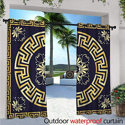 Greek Key Outdoor- Free Standing Outdoor Privacy Curtain W96 x L96 Meander with Spring Inspired Floral Detail Rich and Retro Entangled Maze for Front Porch Covered Patio Gazebo Dock Beach Home Dark