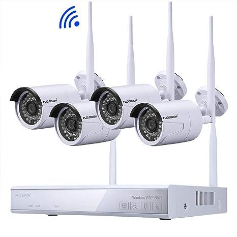 FLOUREON Kit de Seguridad NVR 4CH 1080P HDMI inalámbrico WLAN CCTV NVR DVR 1.0MP Cámara IP de Seguridad, P2P, HD Imagen, IR-Cut, Detección de ...