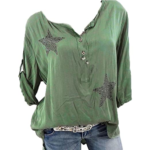 5391e490ebe5 Casual t-Shirt Top, Women Button Five-Pointed Star Hot Drill Plus ...