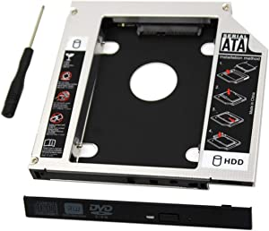 Padarsey Universal 9.5mm SATA to SATA 2nd SSD HDD Hard Drive Caddy Adapter Tray Enclosures Compatible for DELL HP Lenovo ThinkPad ACER Gateway ASUS Sony Samsung MSI Laptop