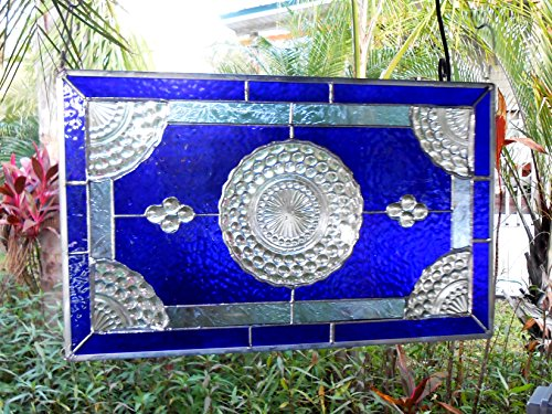 Depression Bubble (Vintage 1930s Blue Bubble Stained Glass Valance, Antique Glass Transom Window, Handmade OOAK, Recycled Depression Glass Plate Stained Glass Panel)