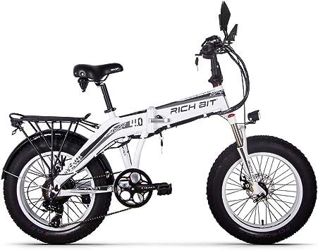 RICH BIT 500W 48V 20 * 4.0 pulgadas ebike grasa bicicleta plegable bicicleta eléctrica RT016 nieve Frente Tenedor de suspensión Shimano 7speed mecánica 155180cm freno de disco: Amazon.es: Deportes y aire libre