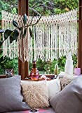 Cheap Ivory Cream Handcrafted Yarn Macrame Wall Hanging by The House Phoenix. Window Curtain Tapestry.