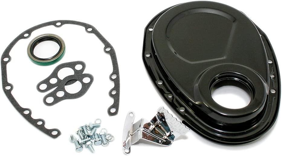 Assault Racing Products A4934BK-BOX Small Block Chevy Black Timing Chain Cover Kit SBC 283 305 327 350 400
