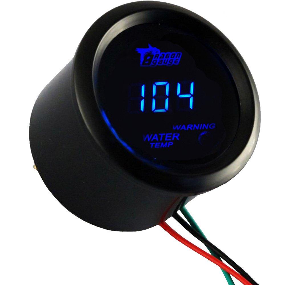 HOUTBY 52mm Car Motor Digital Blue LED Light Display Vacuum LED Gauge Meter