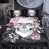 Sleepwish Sugar Skull Rose Bedding Pink Black White Duvet Cover Boys Skull Bedspread 3 Piece Duvet Cover Sets (Queen)