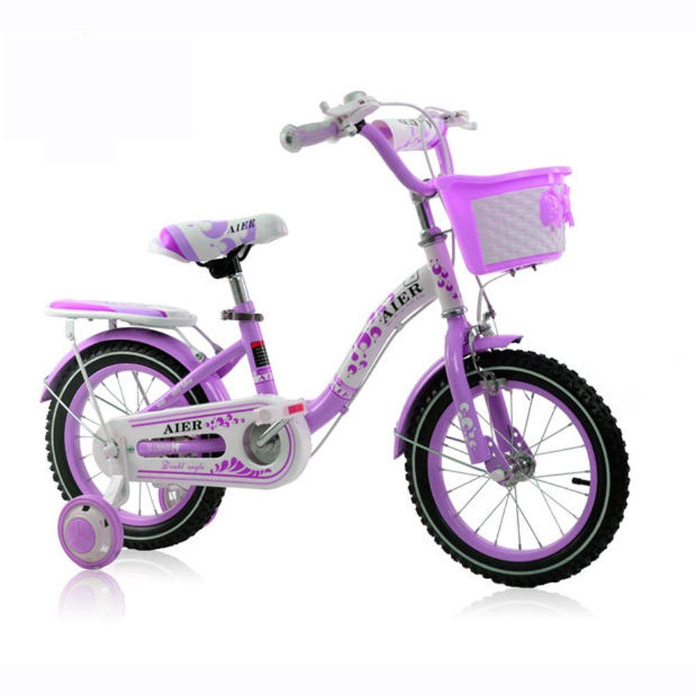 Lll- 子供用自転車3-9歳の小さなプリンセスサイクリング12/14/16/18インチリトルベイビーガールフットベビーカー (色 : 紫の, サイズ さいず : 16