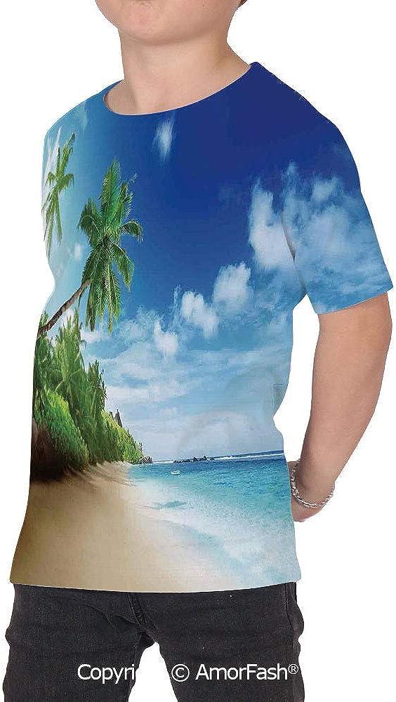 Ocean Decor Original Printed Short Sleeve Shirt Size XS-2XL Big,Beach Sunset Tra