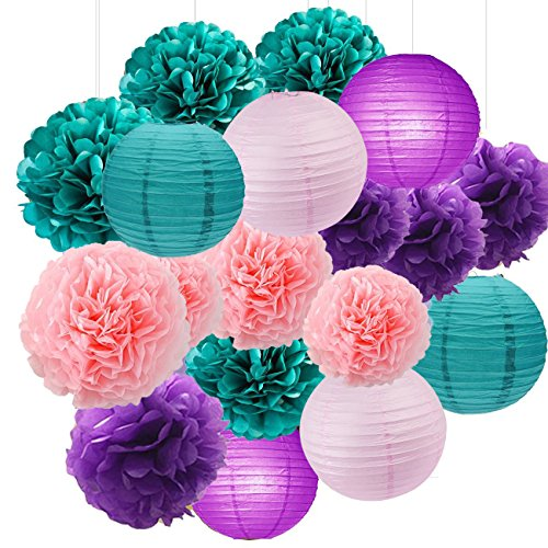 Under the Sea Party Decor/Purple Teal Pink Party Decorations Purple Teal Paper Pom Pom Paper Lanterns Little Mermaid Party Decorations/Mermaid Bridal Shower Decor ()