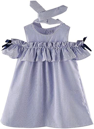 Popular Toddler Newborn Clothes Strapless Stripe Dress+Headband Outfits 2Pcs Set
