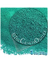The Crafts Outlet 1-oz/28-g Metallic Finish, Glass, Microbeads 0.6mm, Ideal for Caviar Nails, Metallic Turquoise