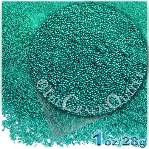 The Crafts Outlet MCR-GLS-MTL-MA6-TRQ Metallic Glass Microbead, 1 Bag of 1-Ounce, Turquoise (Metallic Wood Bead)