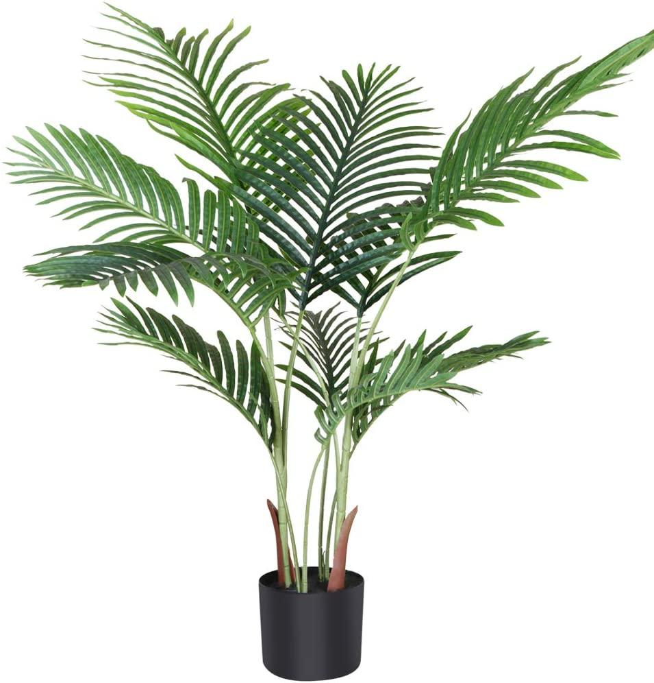 Fopamtri Artificial Areca Palm Plant 3.6 Feet Fake Palm Tree with 10 Trunks Faux Tree for Indoor Outdoor Modern Decor Feaux Dypsis Lutescens Plants in Pot for Home Office Perfect Housewarming Gift
