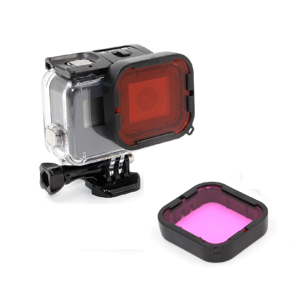 TELESIN GoPro Filter Kit(Red + Purple) + 45M Underwater Waterproof Diving Housing Protective Case Cover for Gopro Hero 5 Gopro Hero 6 Camera without Lens
