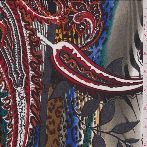 White Multi Paisley Print Silk Jersey Knit, Fabric By the - Fabric Knit Jersey Silk